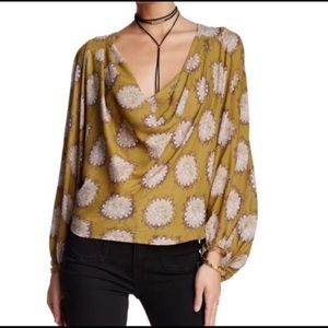 Free People Goldenrod silk top